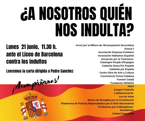 Los constitucionalistas contra el acto de promoción de los indultos en El Liceo de Barcelona