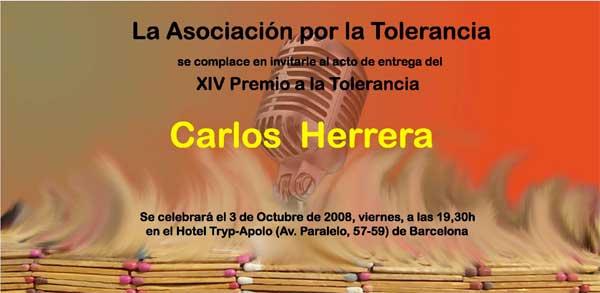 Entrega XIV Premio a la Tolerancia a Carlos Herrera (2008)